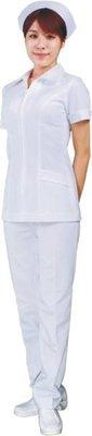 ☆°萊亞生活館 °台製護士服褲裝【2703-短袖】尖領-前面拉錬-白色-斜紋布