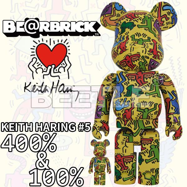 BEETLE BE@RBRICK KEITH HARING #5 凱斯哈林 庫柏力克熊 藝術家 黃色 400 100%