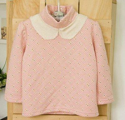 ~子供の部屋~ 品牌 粉紅小花立領鋪棉女童保暖長袖上衣 T恤90公分
