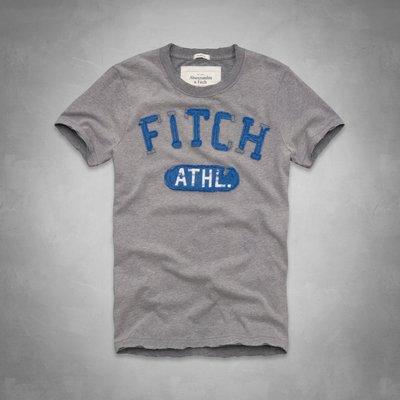 Maple麋鹿小舖 Abercrombie&Fitch * AF 灰色貼布電繡短T *( 現貨XL號 )