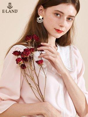 店長推薦  ELAND衣戀春夏季時尚甜美翻領法式雪紡五分袖白色襯衫上衣女士