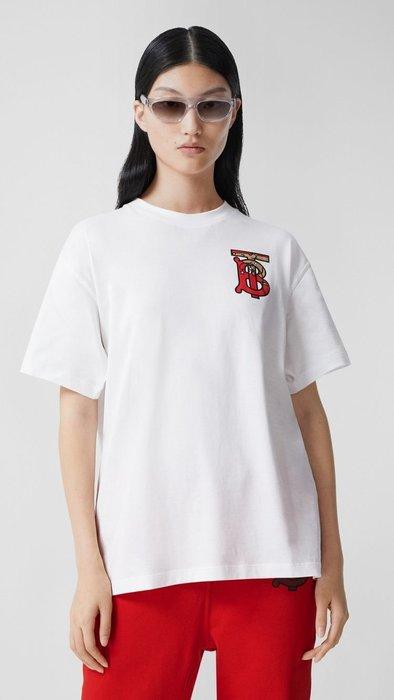 【實拍現貨】-Burberry 本命鼠年 米奇 米妮款 經典花押字圖案棉質寬版 T恤- 80248761-LO2