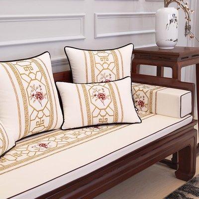 抱枕套 布藝 沙發抱枕套 靠墊現代中式繡花棉麻抱枕沙發靠墊1019簡約大靠枕靠包腰靠背