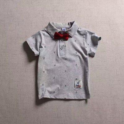 【Mr. Soar】 C346 夏季新款 歐美style童裝男童領結短袖POLO衫 現貨