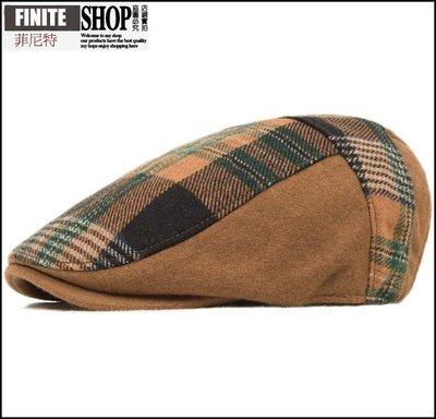 Finite-菲尼特-貝雷帽 秋冬季 潮流格紋男女士鴨舌帽 英倫格子羊毛呢畫家休閒帽