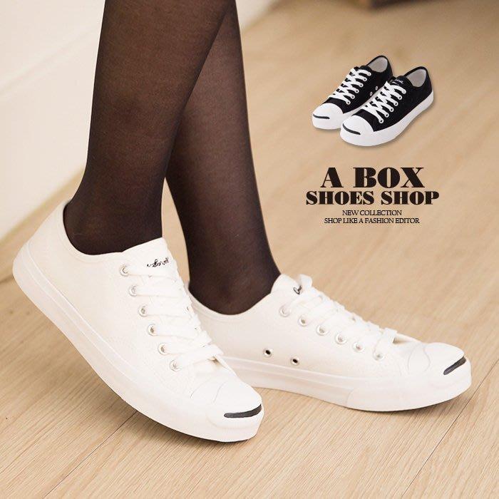 格子舖*【KP1051】經典女款開口笑 嚴選韓版百搭基本款 時尚布面綁帶帆布鞋 3色