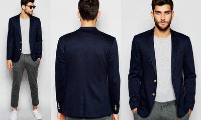 ◎美國代買◎ASOS細長版西裝領搭配澤西布金扣裝飾復古風合身剪裁英倫紳士風顯廋西裝外套~歐美街風~大尺碼