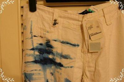全新Ralph Lauren專櫃藍色荷花渲染印花中國風繡珠白色抽繩長褲 (原價$15800)