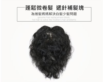 女 補髮片 全真髮 捲髮造型-頭頂補髮 遮白髮 增髮量 全遞針 可自由分線 (7×10 29cm)【不然飾】OAC2