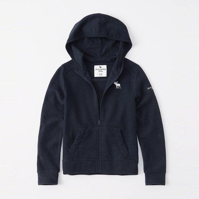 美國百分百【Abercrombie & Fitch】外套 AF 連帽 長袖 夾克 麋鹿 男 女 深藍 S號 I644