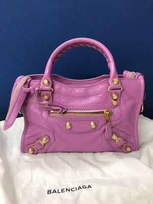 Balenciaga mini city 粉紫色大金釦 機車包 很新