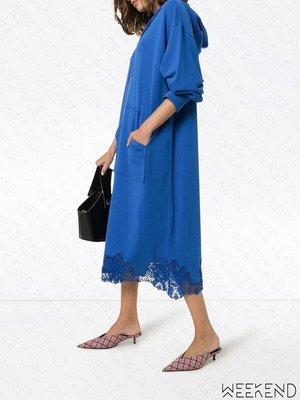 【WEEKEND】 PUSHBUTTON 異材質 拼接 蕾絲 長版 連帽 帽T裙 藍色 19秋冬