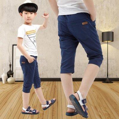 男童短褲裝兒童褲子休閒中褲棉麻中大童男童七分褲薄款