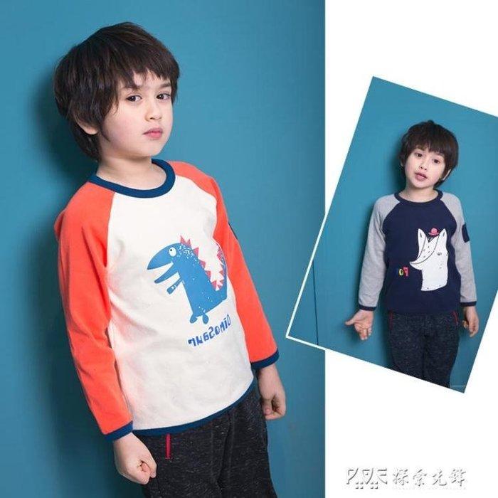 男童t恤衫長袖洋氣兒童寶寶帥氣打底衫春秋裝棉恐龍體恤秋衣