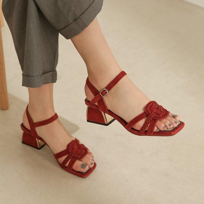 『Alice❤愛麗絲』法式復古夏季磨砂皮編織一字帶露趾涼鞋仙女風粗跟高跟酒紅色時尚