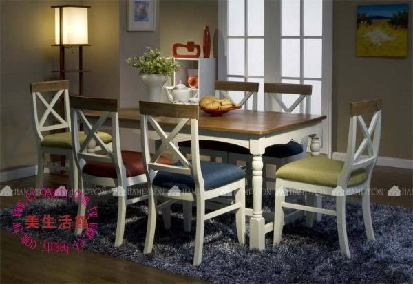 OUTLET出清-美生活館---全新美式鄉村風格--蘇菲 雙色(刷舊白+木) 餐桌椅組 --一桌四椅 優惠 25000元