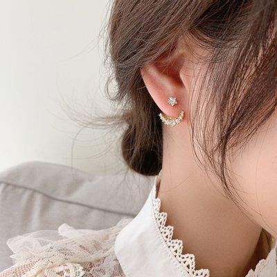 汐夏summer·愛的迫降孫藝珍同款耳環月亮尹世莉耳釘耳飾純銀針二戴星和月