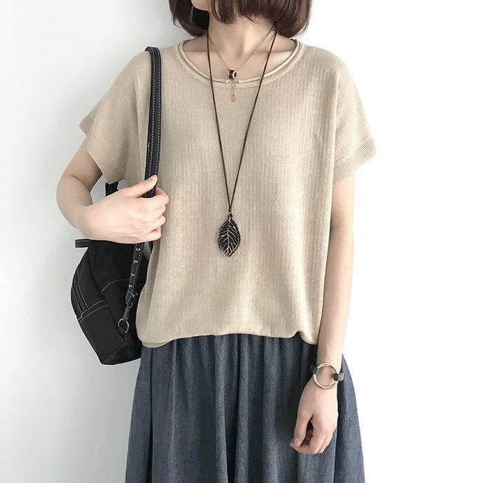 八色-超好看寬鬆薄款苧麻短袖針織衫T恤上衣
