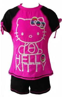 ~有氧小舖~大童KITTY兩件式短袖泳衣 水母衣 二件式泳裝 防曬係數FPF50+