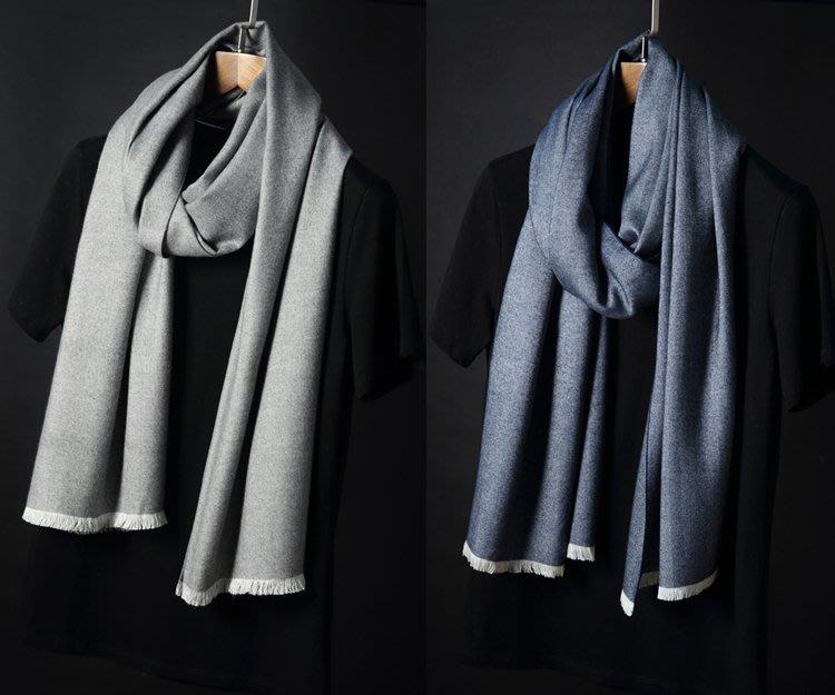 【Lady Luck服飾】兩個色2018新品 藏青灰純色人字紋仿羊絨秋冬窄版圍巾女保暖男士