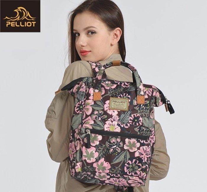 【露西小舖】法國Pelliot防潑水印花時尚雙肩背包多功能時尚背包登山背包後背包雙肩背袋旅行包旅行背包手提包女男通用