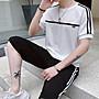 韓系新款七分褲+短袖T恤套裝男潮跑步運動休...