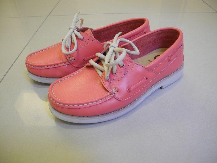 極新G-3粉色全皮帆船鞋 平底真皮休閒鞋  舒適跟高2cm 39號/25.5號/8.5號 鞋面極新無汙損無刮傷 台灣製
