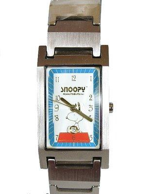 【卡漫迷】 史奴比 手錶 方形 藍框 ㊣版 史努比 不鏽鋼 日期功能 男錶 女錶 Snoopy 六折出清 1440元