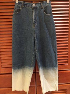 韓國正版漸層鬆緊牛仔單寧下擺鬚鬚寬褲