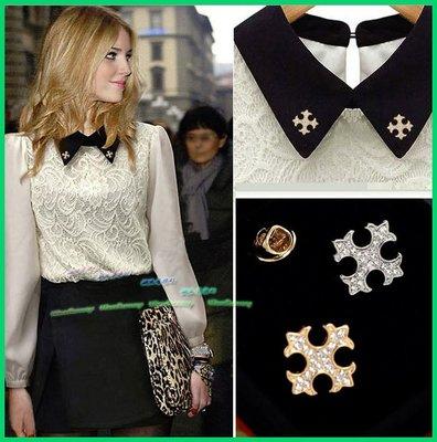 歐美名媛風 韓星最愛 精美 小華麗十字架 水鑽 胸針 領針 領扣 套裝西裝外套包包裝飾 參加婚禮 聚會 約會 穿搭配件
