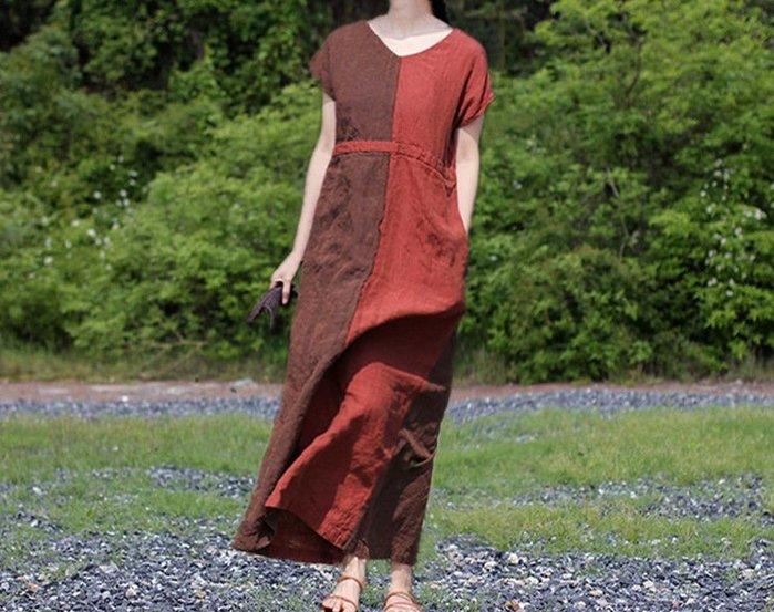 設計款純亞麻V領雙色拼接個性特色連肩袖連衣裙(老銀屋)