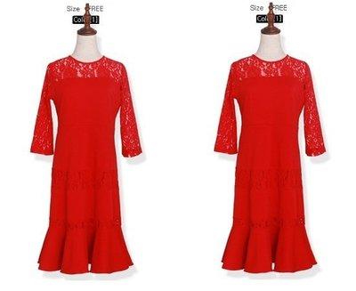 加大尺碼160 春裝新款新款大碼紅色喜氣中長款連衣裙