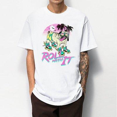 Roll With It 短袖T恤 2色 歐美潮牌 狗 dog 毛小孩 班服 團體服 社團 活動 潮t