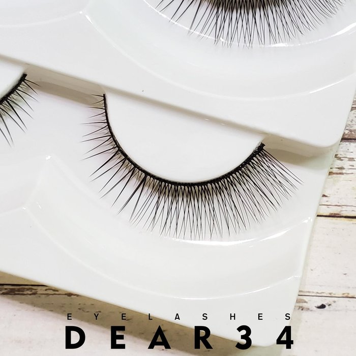 《Dear34》磨尖L-6黑梗眼尾加長V型自然根根分明眼尾加強加密一盒五對價