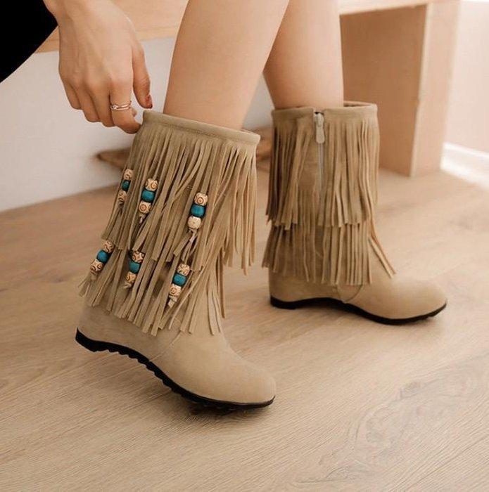 SEYES NYLON古著基本款自然森林系波西米亞歐美麂皮串珠流蘇增高短靴