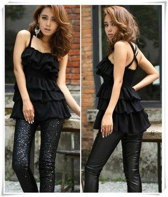 荳荳小舖╭☆ 韓系【D4933】優雅弧度 層層荷葉 雪紡 吊帶裙 ~ 黑 白  / 2色~8折價~現貨 ☆╮