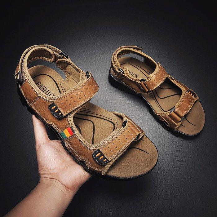 6Du spot~香港2020夏季新款戶外休閑涼鞋男潮鞋百搭外穿沙灘鞋男士時尚涼拖