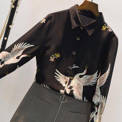 襯衫女長袖2018秋新款韓版寬鬆復古仙鶴印花雪紡上衣碎花洋氣襯衣