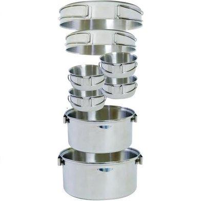 【大山野營】附手電筒 犀牛 RHINO KS-45 4-5人不銹鋼輕便套鍋 四人鍋 湯鍋 平底鍋 煎盤 不鏽鋼碗