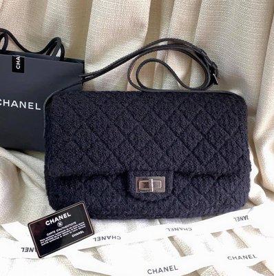 小巴黎二手名牌~真品 Chanel reissue 2.55 復刻 黑銀斜背包 經典 30CM 毛呢 有保卡