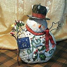 【藏家釋出】早期收藏 ◎ 早期國外鐵皮藝術品《聖誕雪人》適合書房、餐廳擺設.......