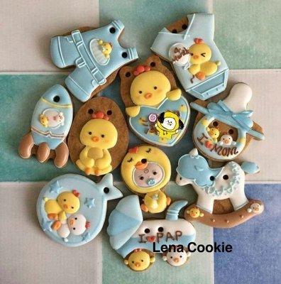 可接急單 收涎餅乾 雞寶寶系列 10片 男寶寶 藍色系 糖霜餅乾 生日禮物 手工餅乾 不挑款(Lena Cookie)