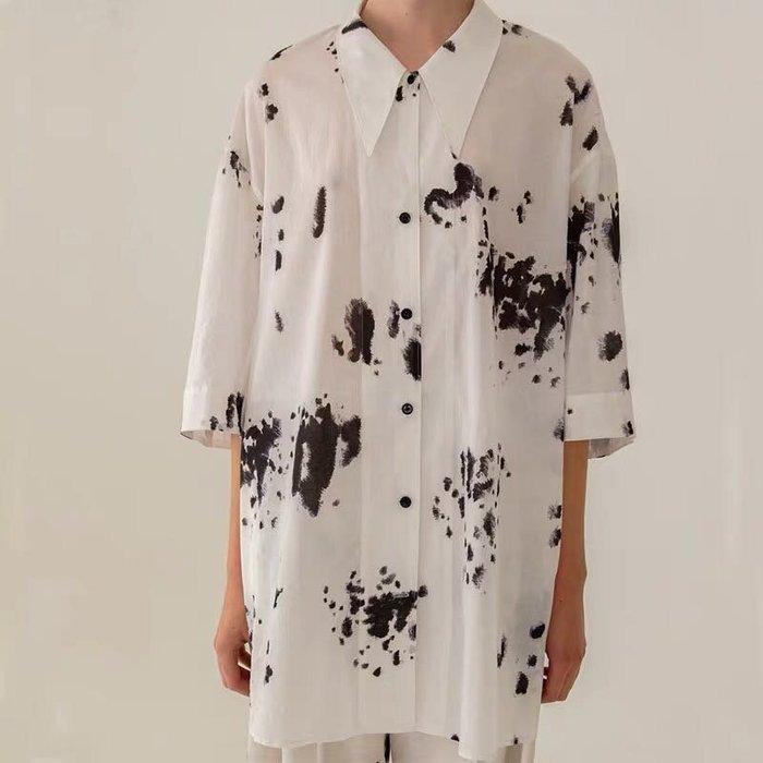 SeyeS {韓國空運} 日系雜誌自然風空靈潑墨五分袖寬鬆長版襯衫
