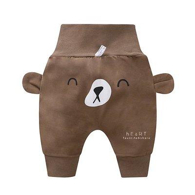 【媽媽倉庫】休閒高腰護肚哈倫褲 棕色小熊 褲子 童裝