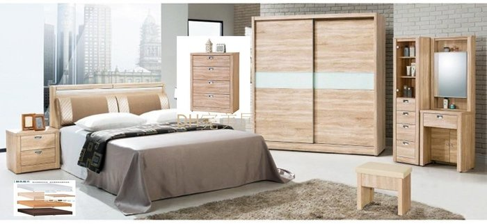 【DH】商品貨號9A商品名稱《和風》北原橡木色5尺床套組(圖一)5尺床台.7尺衣櫃.斗櫃.床頭櫃*1.鏡台組台灣製可拆賣