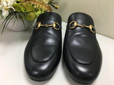 GUCCI 黑色真皮穆勒鞋 懶人鞋 拖鞋