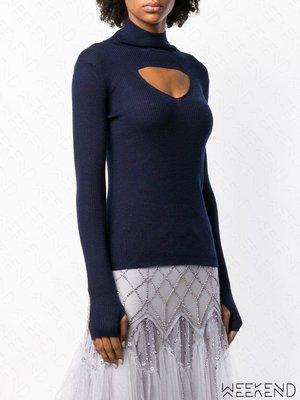 【WEEKEND】 TEMPERLEY LONDON 低胸 挖空 針織 長袖 上衣 藍色 18秋冬