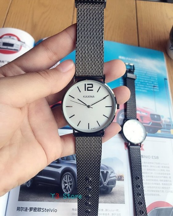 【T3】簡約百搭手錶 金屬錶帶 情侶 對錶 女錶男錶 平價時尚 學院風【MW04】