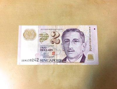 收藏 Singapore 新加坡幣 2二貳元新加坡幣紙鈔舊鈔1張