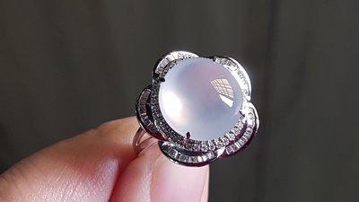 愛買出清~18K金750鑲天然鑽石~緬甸A貨天然翡翠~放光玻璃種~花花鑽戒~~出清換現金